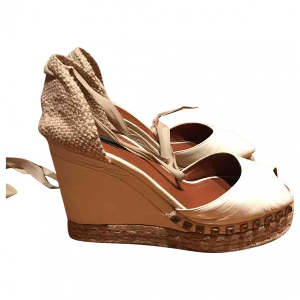 Pre-owned Marc By Marc Jacobs Beige Leather Espadrilles