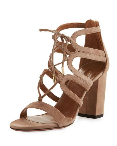 Aquazzura Holli Suede Lace-up 85mm Sandal In Cafe Late Db7