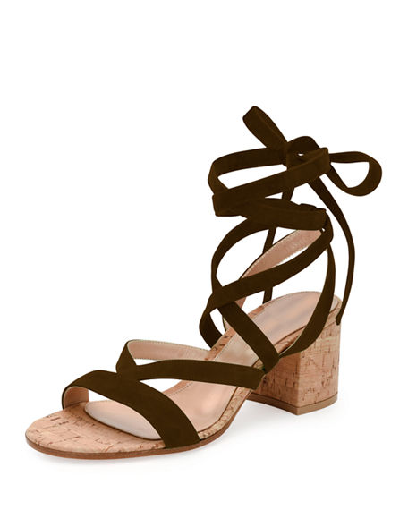 Gianvito Rossi Strappy Suede Ankle-wrap Sandal, Marais In Olive