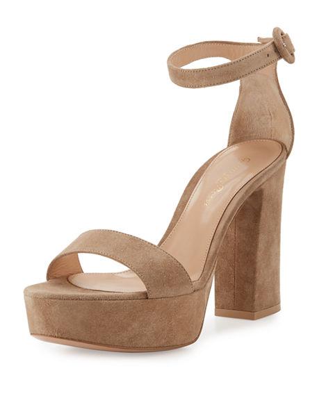 Gianvito Rossi Coco Suede Platform Ankle-wrap Sandal, Black In Tan