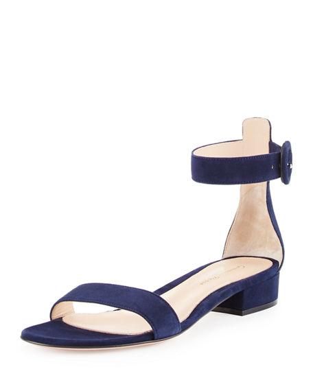 Gianvito Rossi Portofino Suede Ankle-wrap 20mm Sandal, Denim In Blue