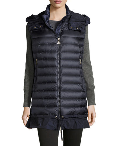 Moncler Amarante Hooded Quilted Down Gilet, Ebony In Blue