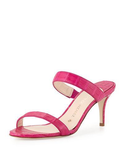 Nancy Gonzalez Maria Crocodile 70mm Slide Sandal In Pink