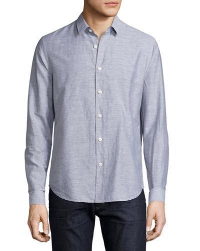 Theory Linen-blend Long-sleeve Sport Shirt In Navy