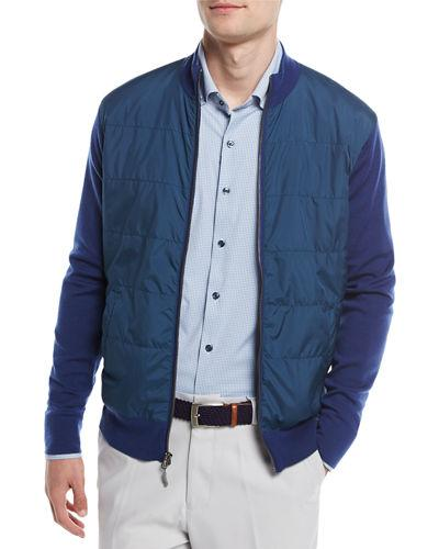 Peter Millar Patterson Full-zip Hybrid Melange Cardigan In Navy