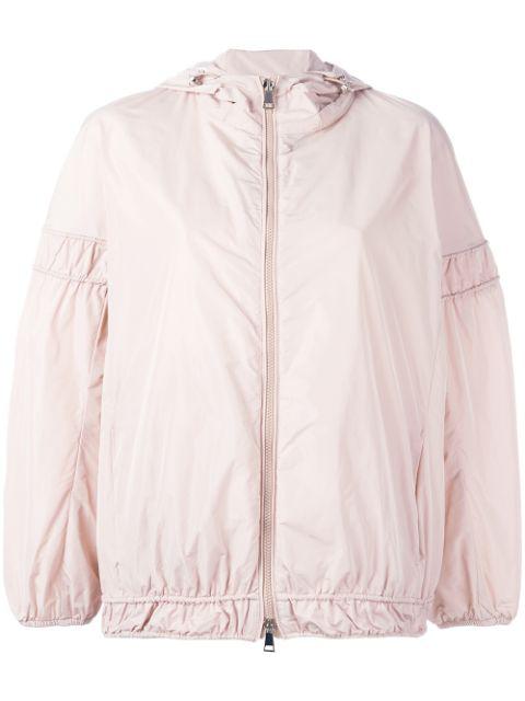 Moncler Jarosse Hooded Lightweight Jacket, Black Pattern In Pink