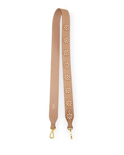 Prada Jeweled Saffiano Strap For Handbag In Neutral Pattern