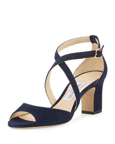 Jimmy Choo Carrie Suede 65mm Sandal, Navy
