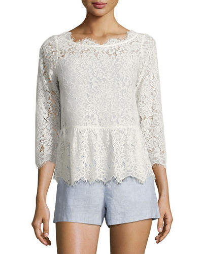 Joie Koda Lace 3/4-sleeve Peplum Top In White
