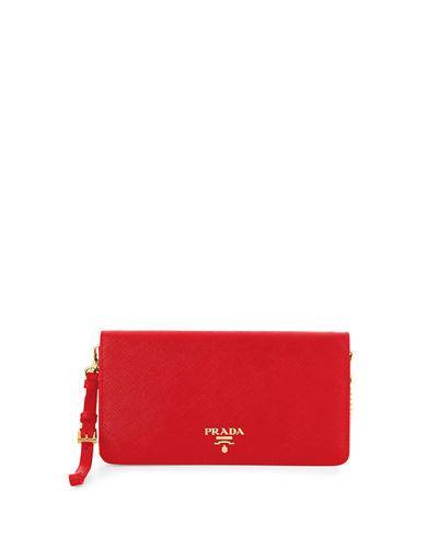 Prada Saffiano Flap Phone Wristlet Wallet W/ Crossbody Strap In Red