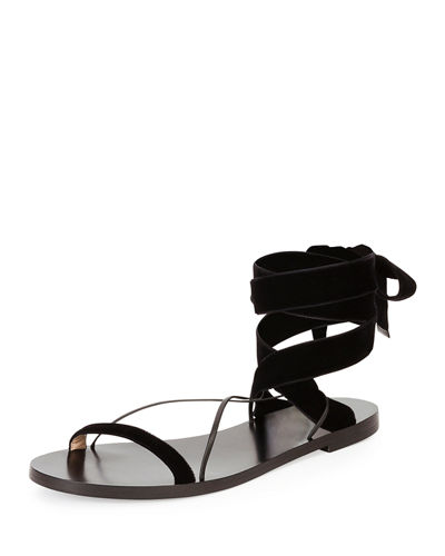 c23a416bfb0cc Valentino Flat Velour Ankle Tie Sandals In Black. | ModeSens