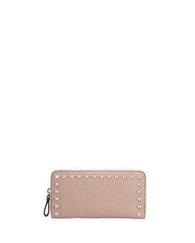 Valentino Zip Around Continental Wallet In Pink
