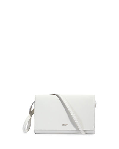 Tom Ford Leather Flap Wallet On Strap, White