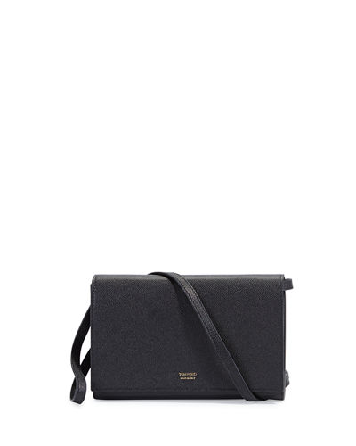 Tom Ford Leather Flap Wallet On Strap, Black