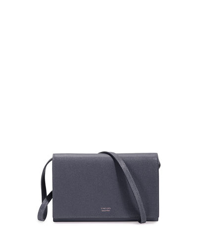 Tom Ford Leather Flap Wallet On Strap, Dark Gray