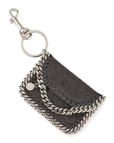 Stella Mccartney Falabella Bag Keychain, Black In 6501cherry
