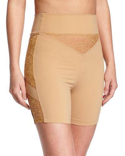 La Perla Shape Allure Lace-panel Shorts, Black In Nude