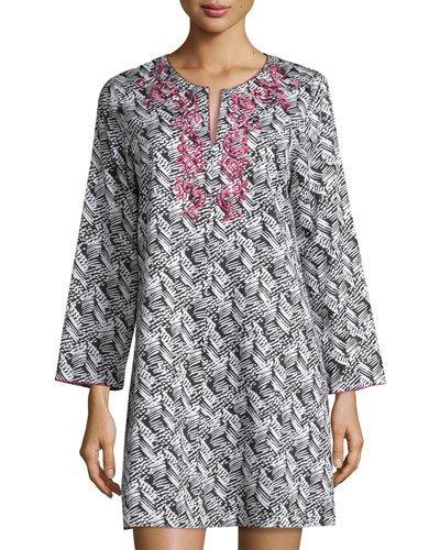Oscar De La Renta Herringbone Stripe Nightgown, Black/white