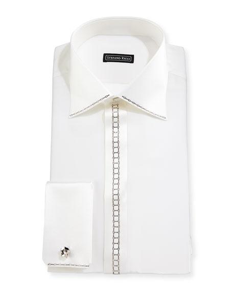 Stefano Ricci Crystal-placket Silk French-cuff Tuxedo Shirt In White