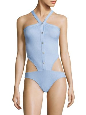 Jonathan Simkhai Collared Oxford One-piece Swimsuit In French Blue White