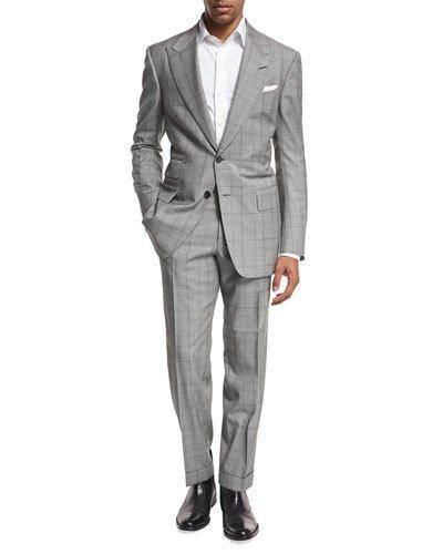 Tom Ford Windsor Base Plaid Two-piece Suit, Black/white