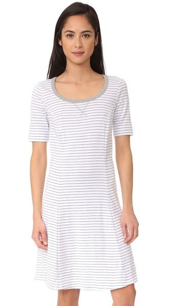 Three Dots Short Sleeve Stripe Dress In White/grey