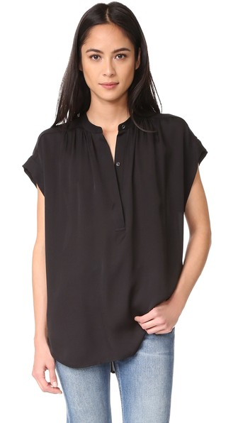 Vince Silk Shirred-neck Cap-sleeve Blouse In Black