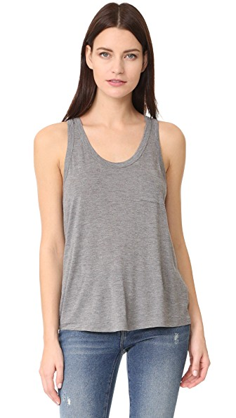 T By Alexander Wang Classic Cropped Tank With Pocket In Heather Grey