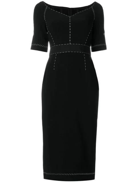 Dolce & Gabbana Wool Dress With Contrasting Colored Topstitching In Black