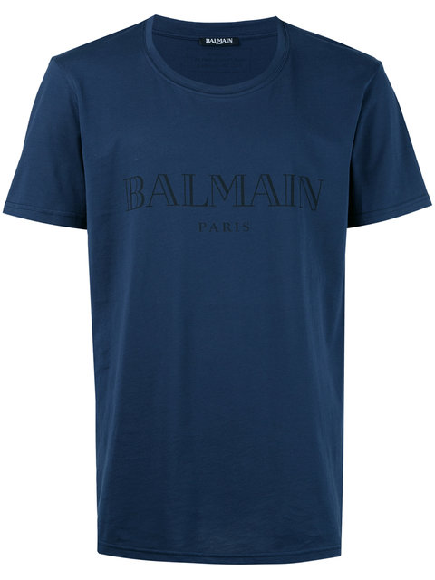 Balmain Logo Printed Cotton Jersey T-shirt, Blue