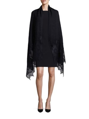 Valentino Cashmere Floral-embroidered Lace-trim Shawl In Na