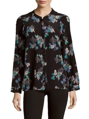 Joie Devitri Floral-print Silk Shirt In Caviar