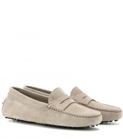 Tod's Gommino Driving Shoes In Nubuck In Sasso