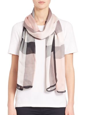 Burberry Mega Check Ultra-washed Satin Scarf In Na