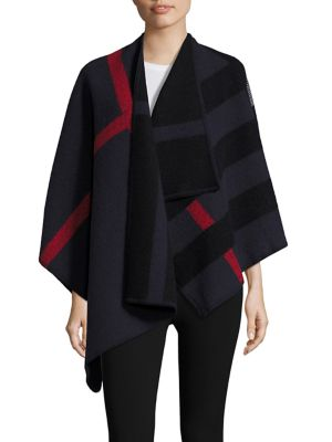 Burberry Prorsum Colorblock Mega Check Wool & Cashmere Blanket Cape In Navy