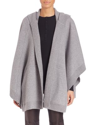 Burberry Carla Hooded Knit Cape In Grey