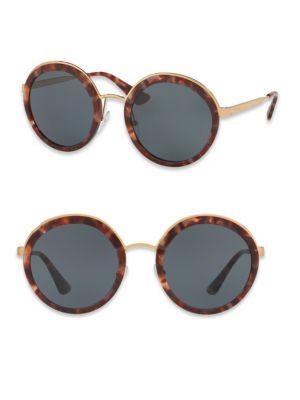 Prada 54mm Round Metal-trim Sunglasses In Na