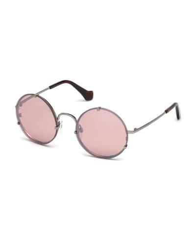 Balenciaga Round Monochromatic Metal Sunglasses, Light Ruthenium/brown In Pink