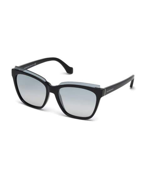 Balenciaga Injected Acetate Square Sunglasses, No Color