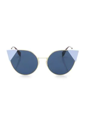 590200e8c63a Fendi 55Mm Round Cat S-Eye Sunglasses In Rose Gold Blue Blue