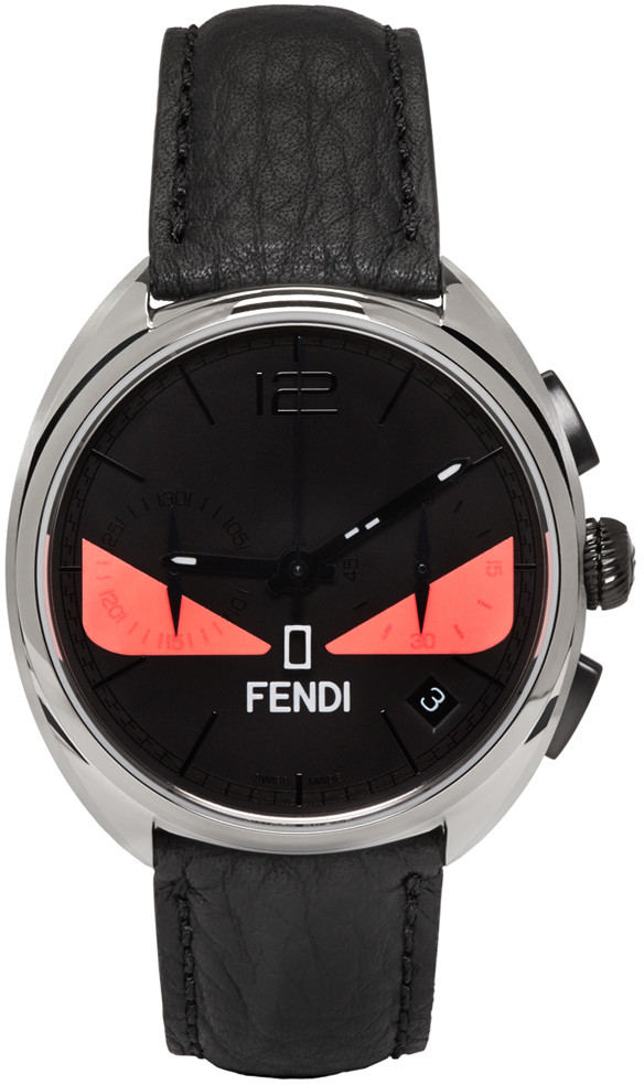 Fendi Bug Chronograph Leather Strap Watch, 40mm In Black/ Pink/ Silver