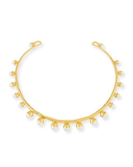 Tory Burch Pearly Bud Collar Necklace, Ivory/gold