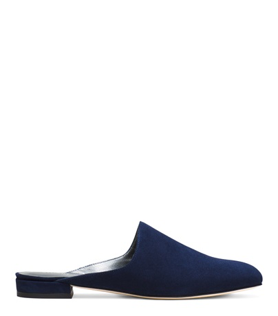 Stuart Weitzman Mulearky Suede Flat Mule, Sapphire  In Blue Suede