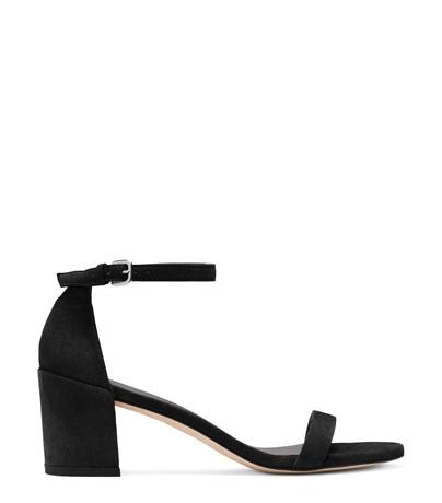 Stuart Weitzman The Simple Sandal In Black Suede