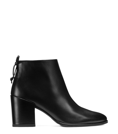 Stuart Weitzman Loft Block-heel Leather Bootie, Black In Black Nappa Leather