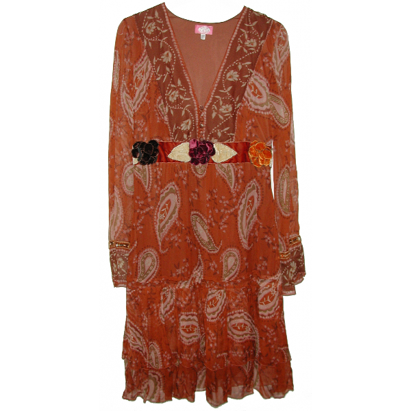 Blumarine Brown Silk Dress