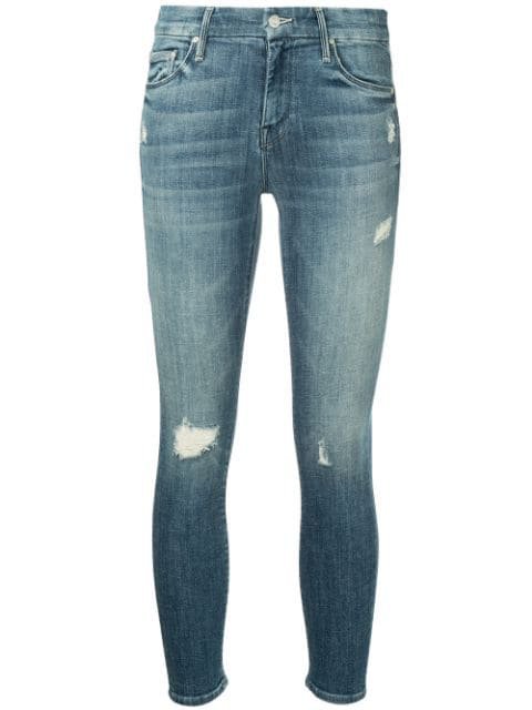 Mother The Looker Crop Jeans In Gypsy In Blue