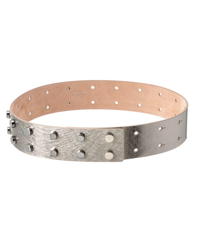Jimmy Choo Lockett Etched Metallic Leather Studded Belt' In Silver
