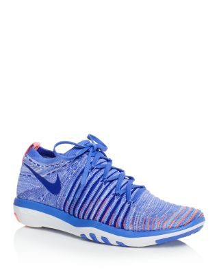 Nike Women's Free Transform Flyknit Lace Up Sneakers In Medium Blue/concord Lava Glow