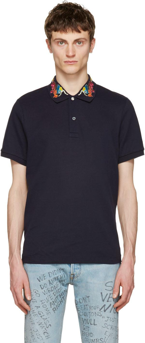 Gucci Slim-fit Embroidered Stretch-cotton PiquÉ Polo Shirt In Navy